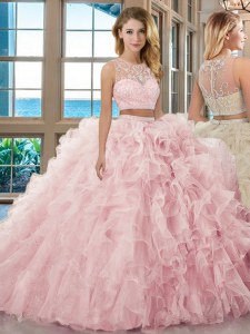 Scoop Sleeveless Ball Gown Prom Dress Floor Length Beading and Ruffles Baby Pink Organza
