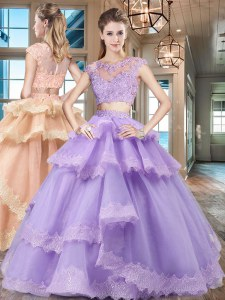 Glittering Scoop Lavender Two Pieces Beading and Lace and Appliques and Ruffled Layers Ball Gown Prom Dress Zipper Tulle Cap Sleeves Floor Length