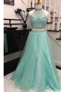 Halter Top Sleeveless Sweep Train Beading Backless Homecoming Dress