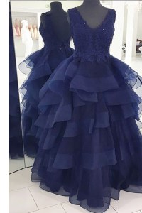 Pretty Sleeveless Beading and Appliques and Ruffles Backless Dress for Prom
