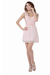 Glamorous Baby Pink Sleeveless Chiffon Backless Cocktail Dresses