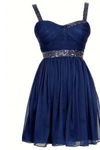 Chiffon Sleeveless Knee Length Prom Dresses and Sequins