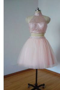 High-neck Sleeveless Tulle Evening Outfits Beading Zipper