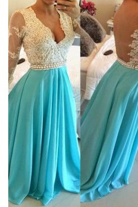 Sumptuous Long Sleeves Chiffon Floor Length Backless in Baby Blue with Lace