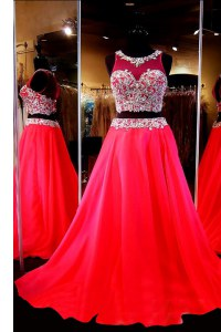 Sweep Train A-line Prom Party Dress Red Scoop Chiffon Sleeveless With Train Backless