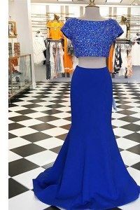 Nice Bateau Short Sleeves Sweep Train Zipper Homecoming Dress Royal Blue Elastic Woven Satin