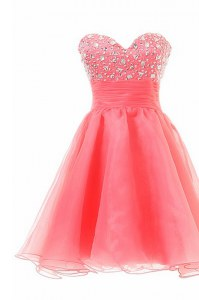 Watermelon Red Zipper Homecoming Dress Online Beading Sleeveless Knee Length