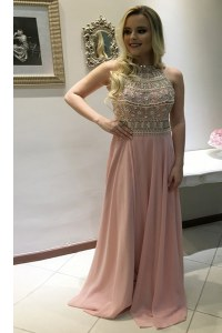 Pink Chiffon Backless Scoop Sleeveless With Train Evening Dress Sweep Train Beading