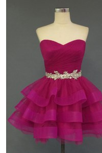 Adorable Ruffled Sweetheart Sleeveless Lace Up Prom Dress Fuchsia Organza