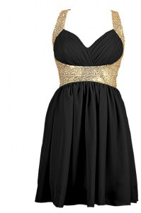 Knee Length Criss Cross Prom Evening Gown Black for Prom with Sequins