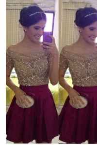 Off the Shoulder Burgundy Sleeveless Beading Mini Length Evening Dress