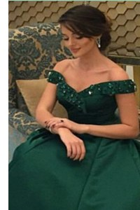 Floor Length Dark Green Formal Dresses Off The Shoulder Short Sleeves Zipper