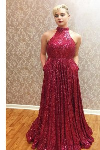 Fine Halter Top Sequins Floor Length A-line Sleeveless Wine Red Dress for Prom Zipper