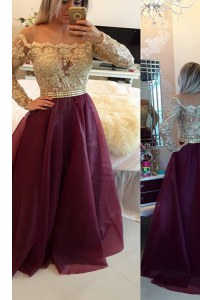 Burgundy Scoop Neckline Beading and Appliques Long Sleeves Zipper