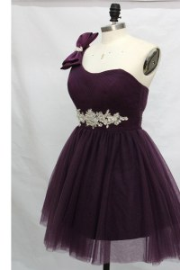 Beauteous Purple One Shoulder Lace Up Beading Sleeveless
