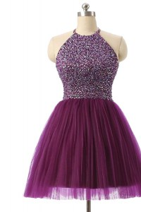 Graceful Sequins Knee Length Purple Prom Evening Gown Halter Top Sleeveless Zipper