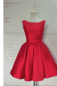 Beautiful Red Bateau Neckline Bowknot Pageant Dress for Womens Sleeveless Backless