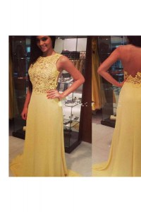 Yellow Scoop Neckline Lace Evening Dresses Sleeveless Backless