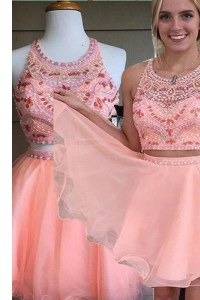 Glittering Scoop Pink Sleeveless Beading Mini Length Celebrity Prom Dress