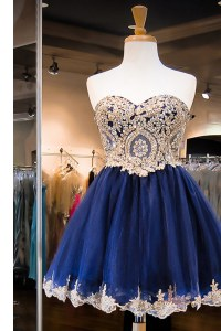 Sexy Sweetheart Sleeveless Side Zipper Prom Gown Royal Blue Tulle