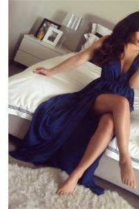 Captivating Navy Blue A-line V-neck Sleeveless Elastic Woven Satin Sweep Train Zipper Ruching Prom Dresses