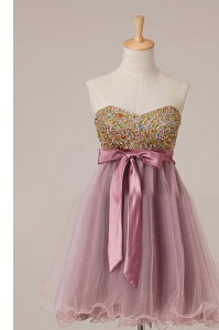 Best Pink Sleeveless Knee Length Sashes ribbons and Sequins Zipper Evening Dress