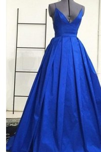 Decent Royal Blue Prom Evening Gown Spaghetti Straps Sleeveless Sweep Train Criss Cross