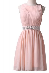 Adorable Pink A-line Chiffon Scoop Sleeveless Beading Knee Length Lace Up Evening Wear