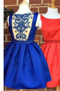 Super Sleeveless Knee Length Beading Side Zipper Dress for Prom with Royal Blue