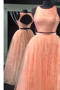 Peach Prom and For with Beading and Lace Scoop Sleeveless Backless