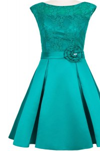Fancy Lace Knee Length Teal Homecoming Party Dress Scoop Cap Sleeves Zipper