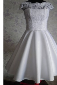 Pretty White A-line Lace Dress for Prom Zipper Satin Cap Sleeves Knee Length