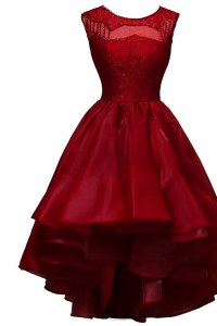 Luxurious High Low Zipper Evening Dress Wine Red for Prom and Party with Beading