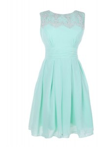 Bateau Sleeveless Zipper Prom Party Dress Apple Green Chiffon