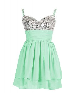 Apple Green Chiffon Zipper Sweetheart Sleeveless Mini Length Cocktail Dresses Beading and Ruching