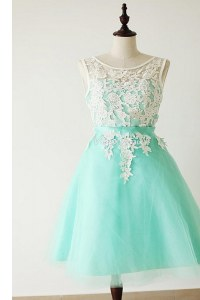 Tulle Bateau Sleeveless Zipper Lace and Sashes ribbons Dress for Prom in Apple Green