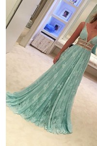 Lace V-neck Sleeveless Sweep Train Zipper Beading Prom Gown in Apple Green