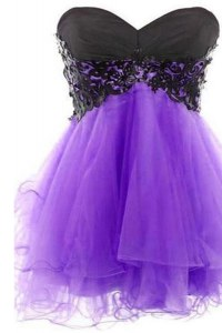 Low Price Lavender Tulle Lace Up Prom Gown Sleeveless Mini Length Appliques