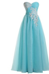 Blue A-line Tulle Sweetheart Sleeveless Appliques Floor Length Zipper Prom Evening Gown
