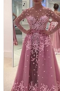 Chic Lilac Tulle Zipper Prom Evening Gown Long Sleeves With Train Sweep Train Appliques
