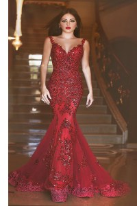 Discount Sequins With Train Mermaid Sleeveless Red Prom Dresses Sweep Train Backless