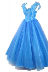 Fancy Pick Ups Floor Length Baby Blue Evening Dress V-neck Sleeveless Zipper