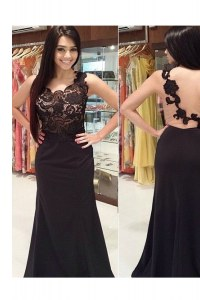 Extravagant Black Column/Sheath Lace Scoop Sleeveless Appliques With Train Backless Formal Dresses Brush Train