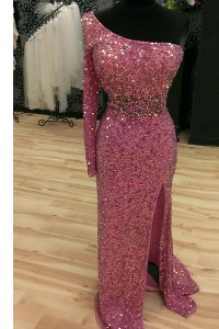 Traditional One Shoulder Sequins Mermaid Long Sleeves Lilac Prom Dresses Sweep Train Backless