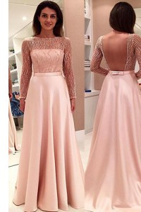 With Train A-line Long Sleeves Pink Prom Dress Sweep Train Backless