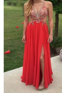 Red A-line V-neck Sleeveless Chiffon Floor Length Backless Beading Homecoming Dress