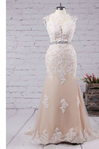 Gorgeous Mermaid Champagne Scoop Backless Beading and Appliques Evening Dress Sweep Train Sleeveless