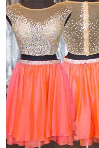 Low Price Orange Taffeta Zipper Cap Sleeves Mini Length Beading