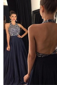 Elegant Halter Top Sleeveless Sweep Train Backless With Train Beading Prom Dresses