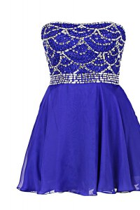 Royal Blue Zipper Strapless Beading Prom Evening Gown Chiffon Sleeveless
